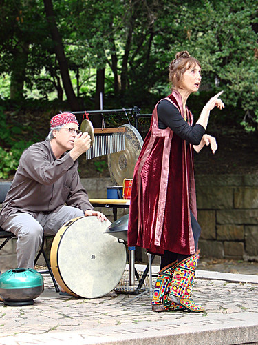 Diane Wolkstein and Jeff Greene performing in Central Park | by diane.wolkstein