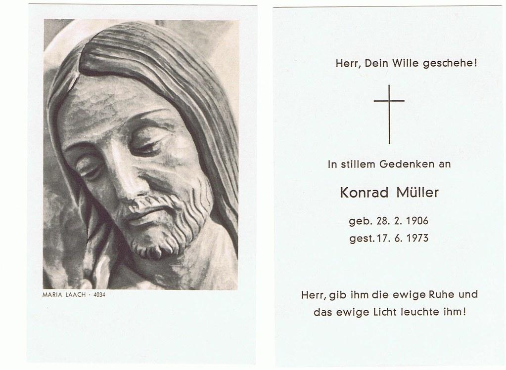 Totenzettel Müller, Konrad † 17.06.1973
