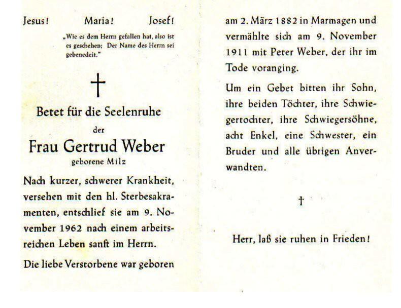 Totenzettel Milz, Gertrud † 09.11.1962