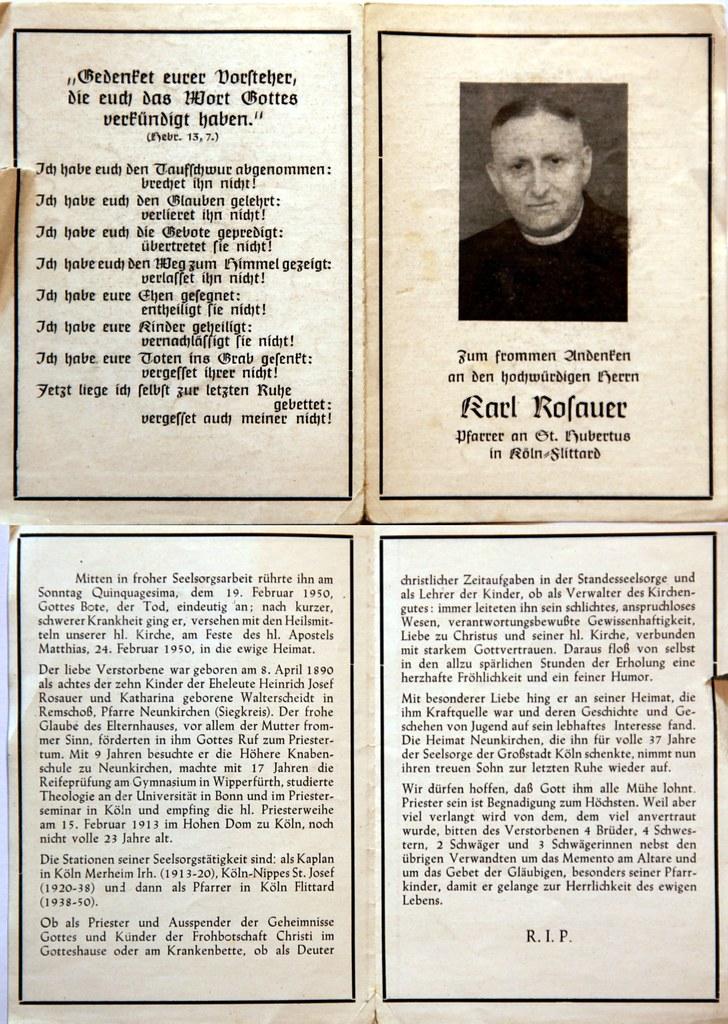 Totenzettel Rosauer, Karl - Pfarrer St.Hubertus Flittard † 19.02.1950