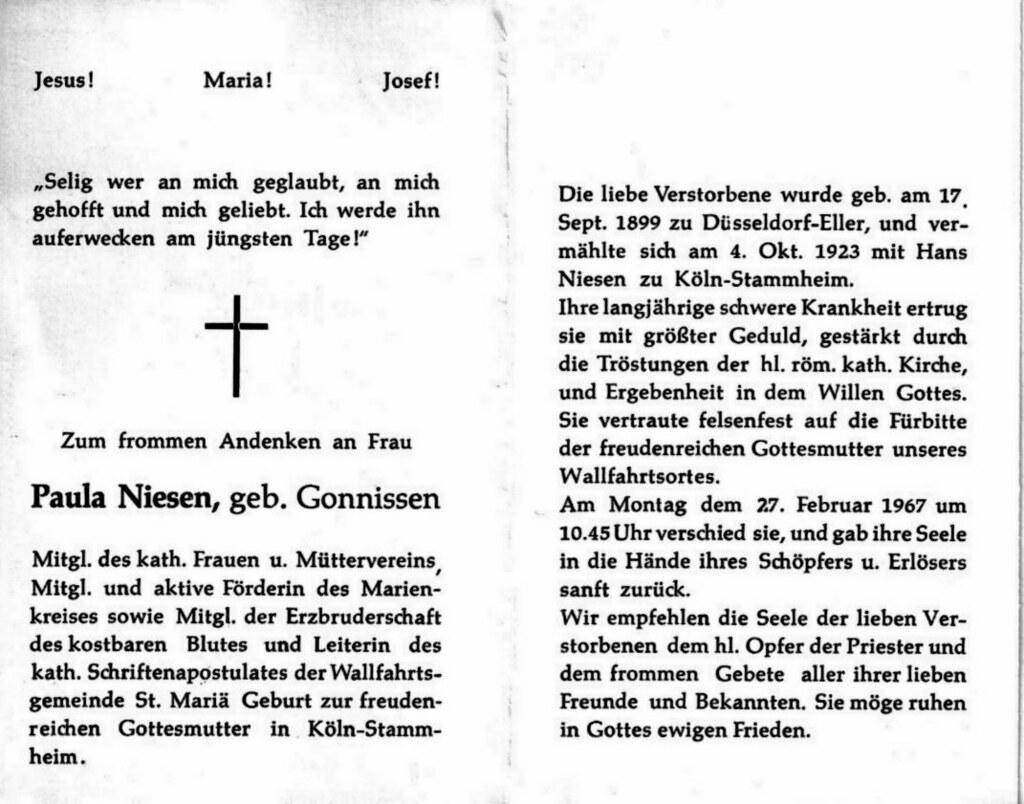 Totenzettel Niesen, Paula † 27.02.1967