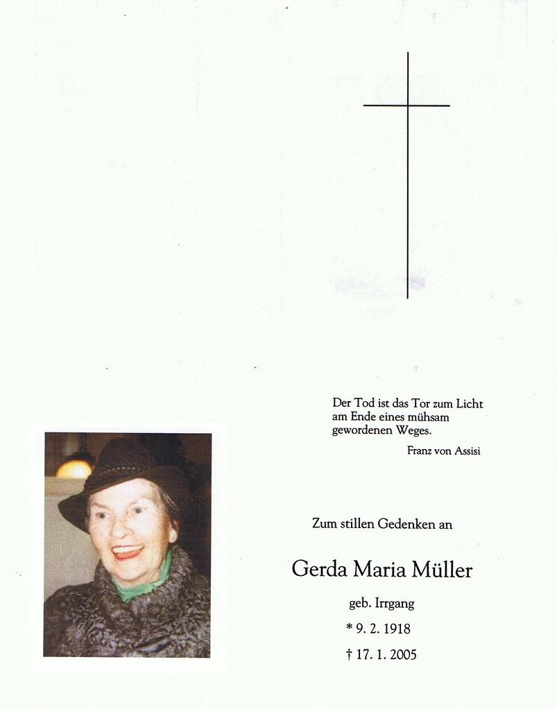 Totenzettel Müller, Gerda Maria † 17.01.2005