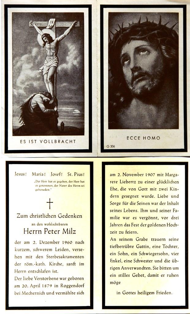 Totenzettel Milz, Peter † 02.12.1960