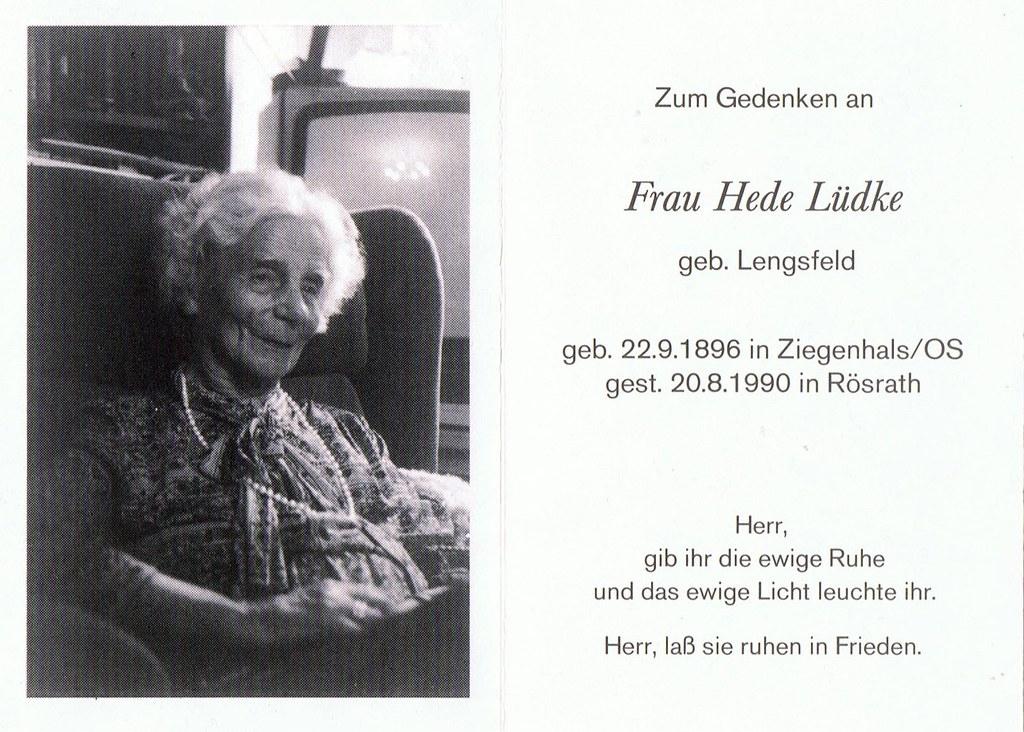 Totenzettel Lüdke, Hede geb. Lengsfeld † 20.08.1990