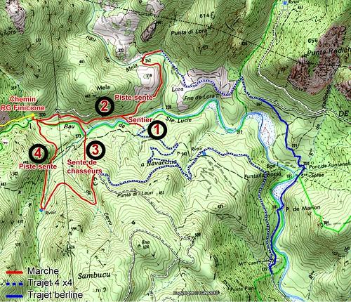 Carte de la Sainte-Lucie dans la Haut-Cavu avec les différents accès au pont de Figa (IGN300) à fin 2018