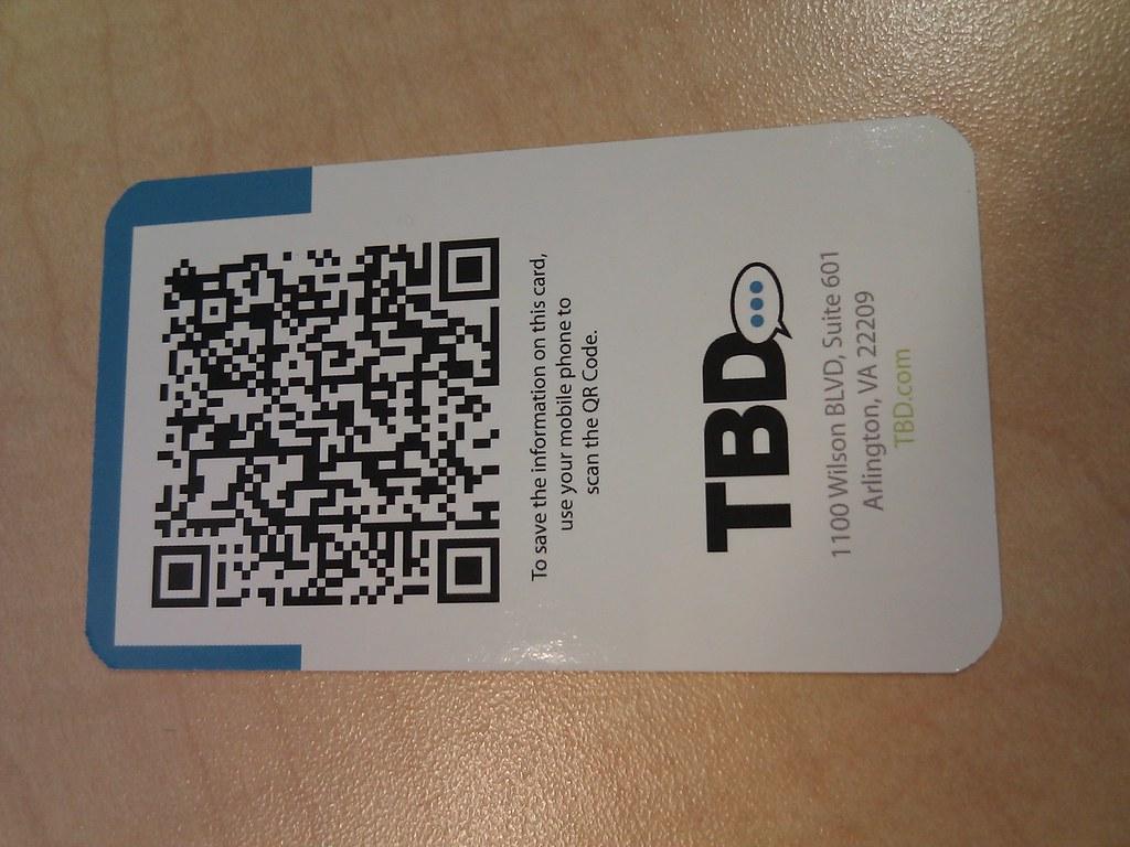 Tbd Business Cards Have Qr Code On Back For Smartphone Sca Flickr