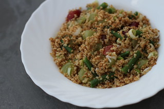 Roasted couscous, grapes, gooseberries and spring onions | by veganbackpacker
