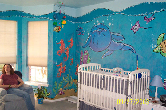 Underwater nursery mural underwater themed nursery mural for Classroom wall mural ideas