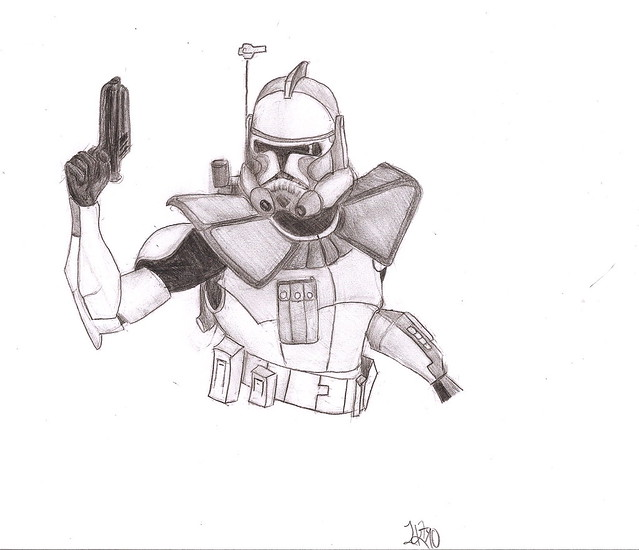 how to draw a clone trooper commander phase one