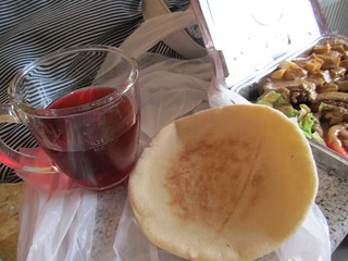 Nil - hibiscus drink and pita | by veganbackpacker