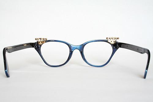 Royal Blue Glasses Frames : Royal Blue and Gold Cat Eye Glasses Frames with Rhinestone ...