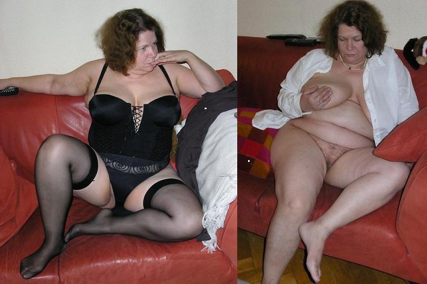 Mature woman undressing