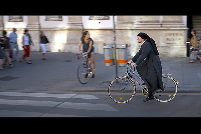 Nun on the run.