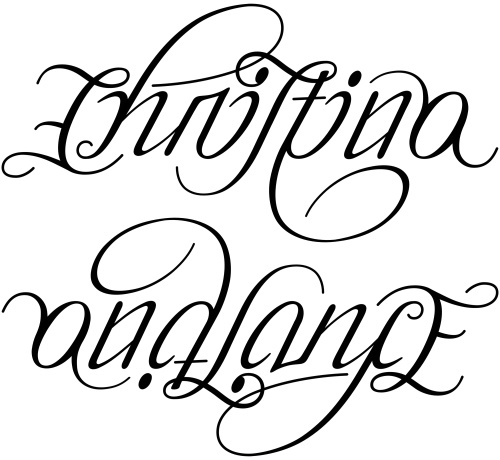 Christina and lance ambigram a custom ambigram of the for Tattoos that say something different upside down