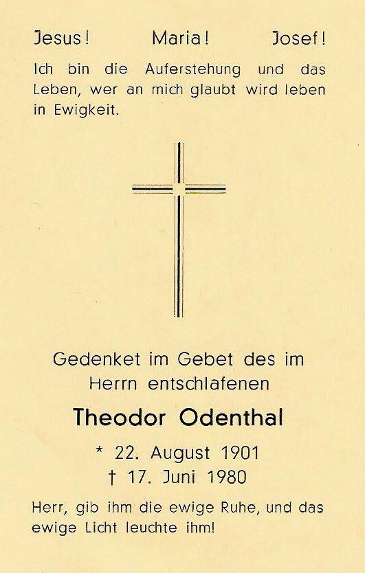 Totenzettel Odenthal, Theodor † 17.06.1980