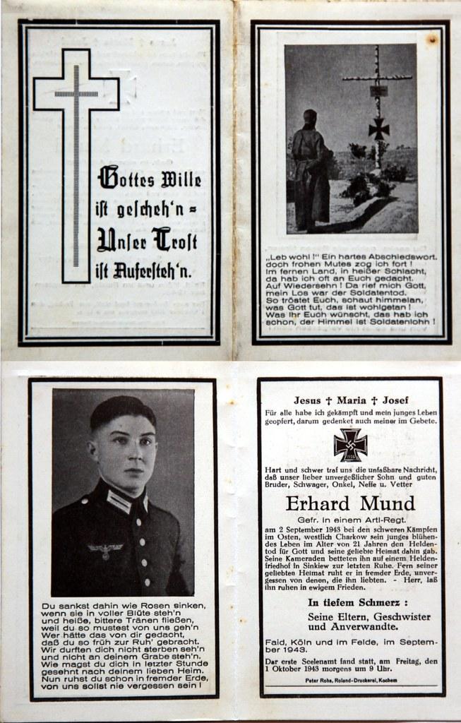 Totenzettel Mund, Erhard † 02.09.1943