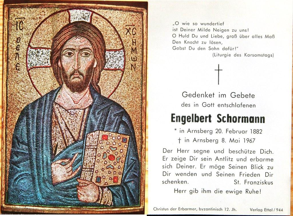 Totenzettel Schormann, Engelbert † 08.05.1967