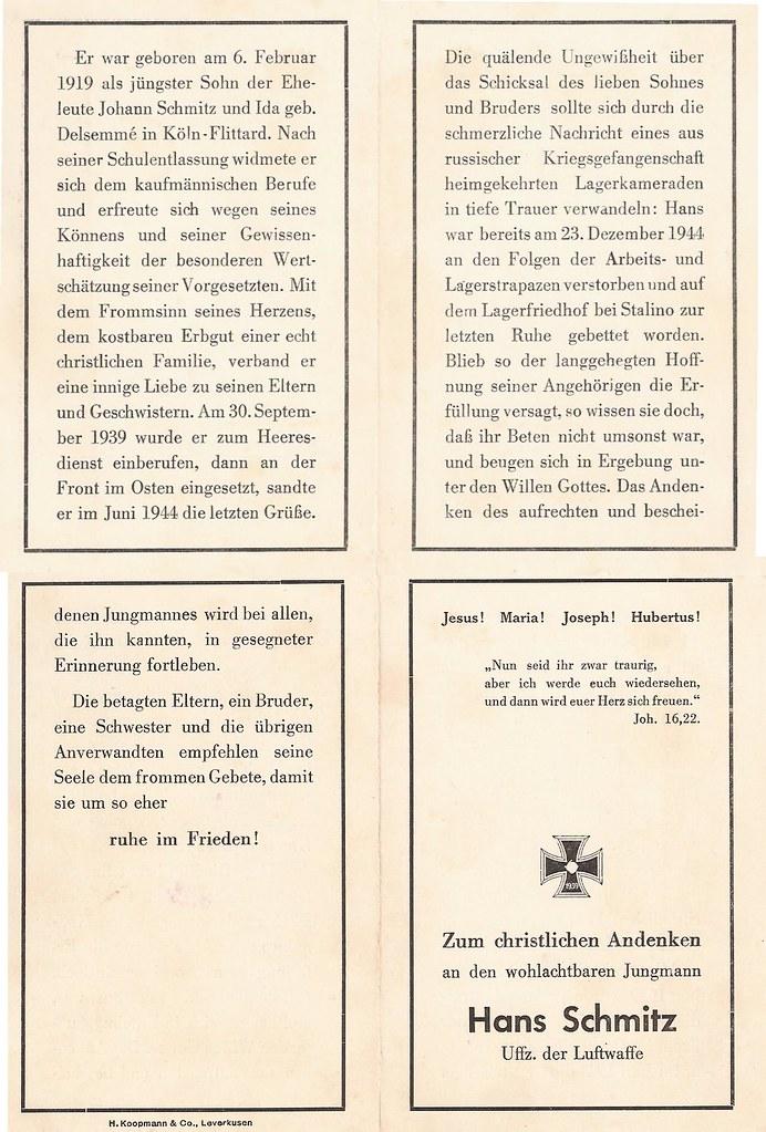 Totenzettel Schmitz, Hans geb. 1919 gest † 23.12.1944