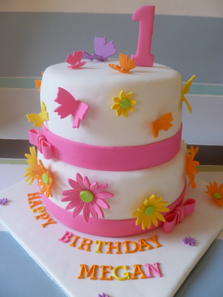 Bright Gerbera Flowers And Butterfly Birthday Cake Flickr
