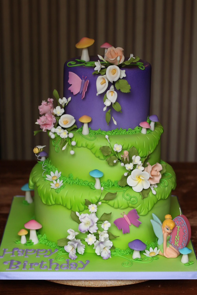 Tinkerbell Birthday Cake Bottom Tier Is Marble Cake With V Flickr