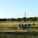 People sitting on a blanket at Gravelly Point
