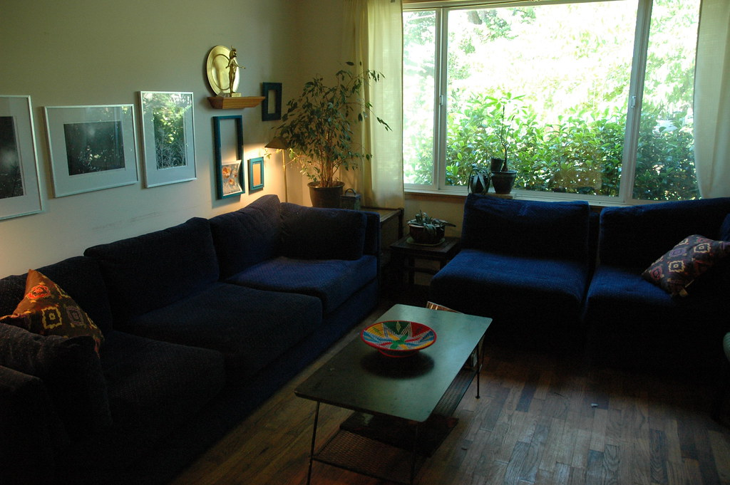Casual Living Room Blue Velvet Sofas Wood Floor 1950 S