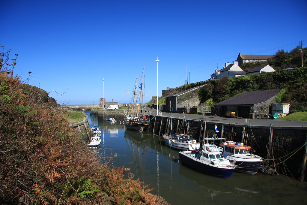 Amlwch Port on a sunny day at low tide.