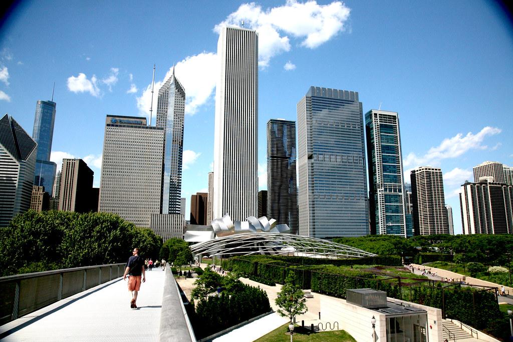 Chicago Ill Millennium Park The Nichols Bridgeway Ren