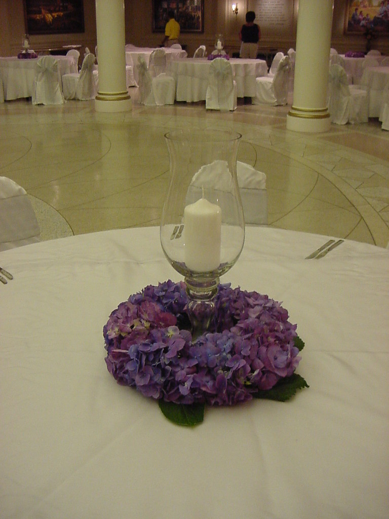 Purple hydrangea wreath candle centerpiece