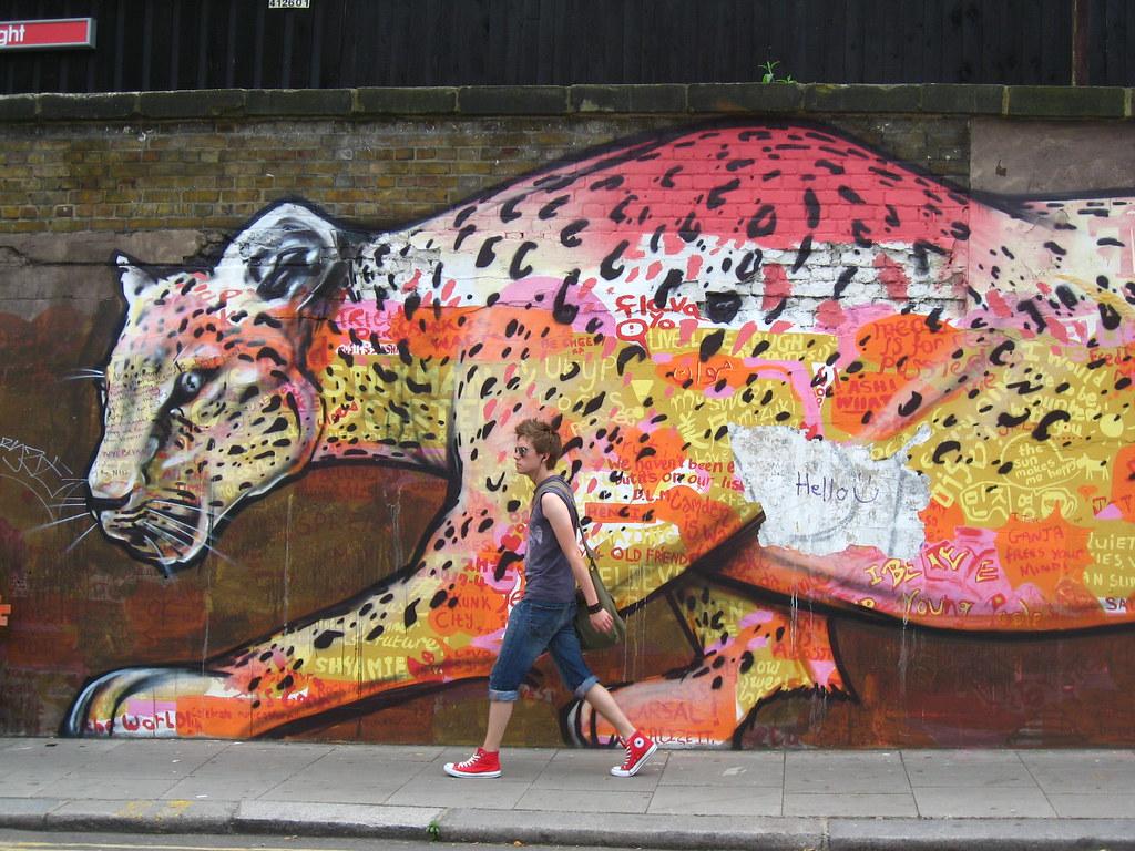 Rainbow Leopard Graffiti Regents Park Road Outside