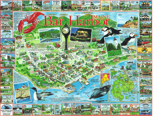 Maine Bar Harbor Map Postcard Located On Dramatic Mount