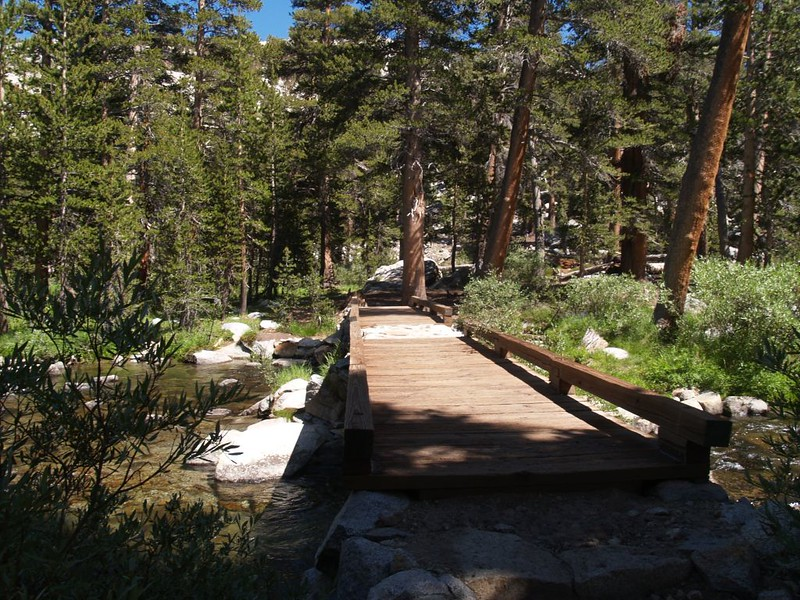 The footbridge at 9700 feet on the PCT in Lyell Canyon where there was a large hiker campground