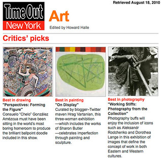 "Time Out New York gives ""On Display"" a Critics's Pick in ""Best in Painting"" 