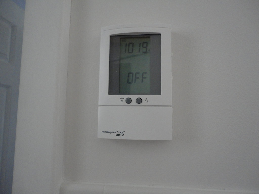 bathroom floor heating thermostat installed and working