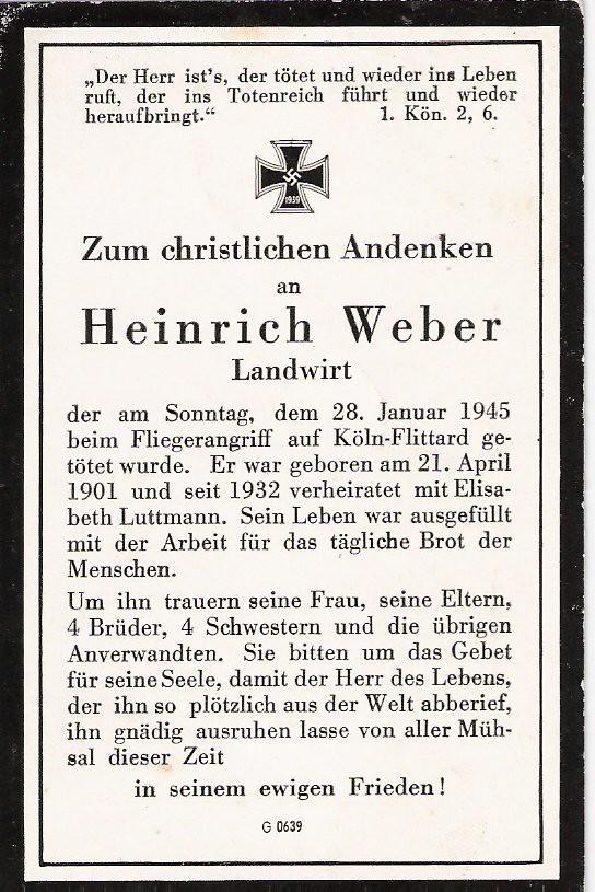 Totenzettel Weber, Heinrich geb.1901 † 28.01.1945