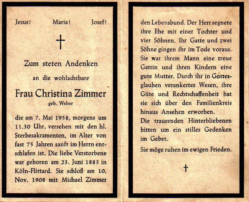 Totenzettel Weber, Christina † 07.05.1958