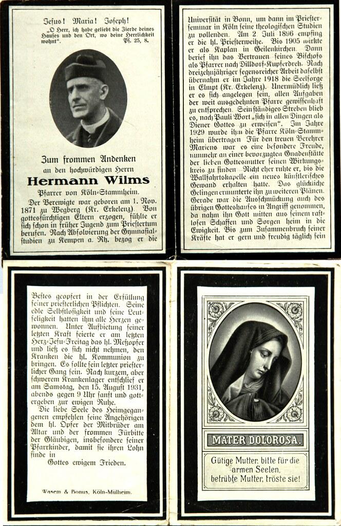Totenzettel Wilms, Hermann - Pfarrer von Stammheim † 15.08.1937