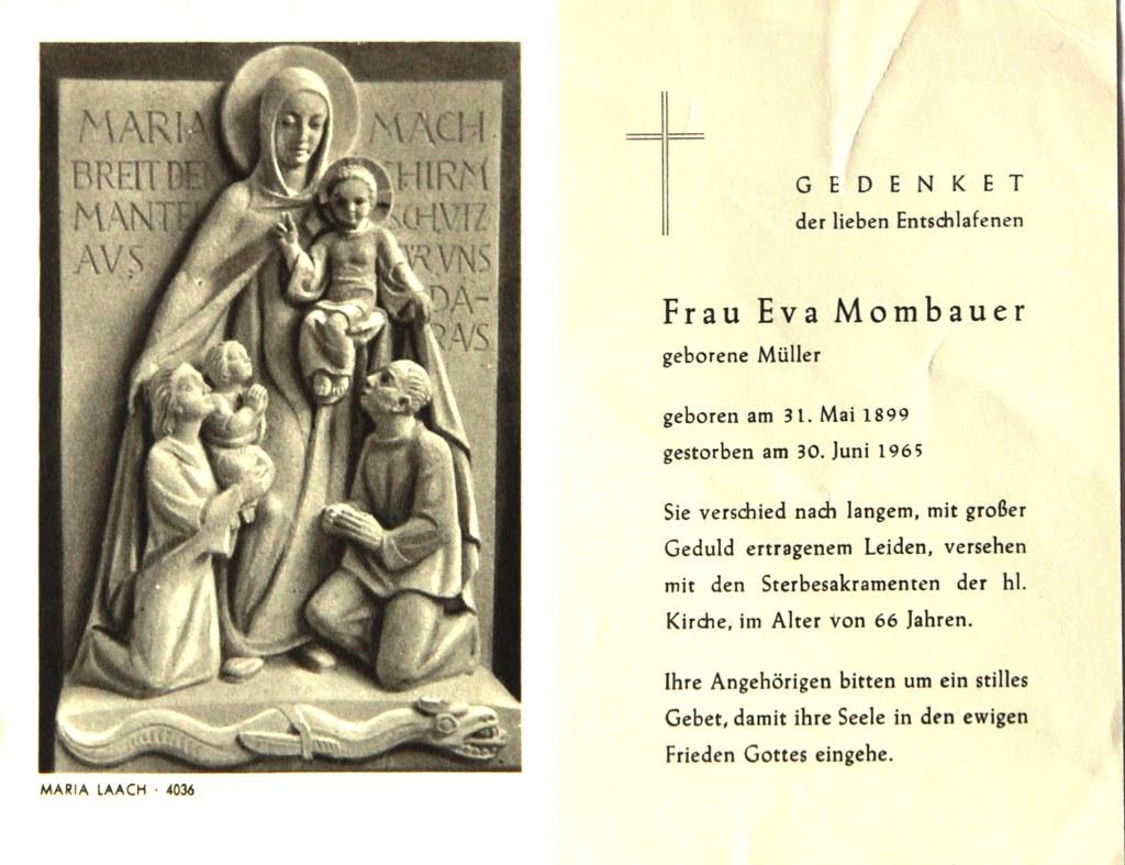 Totenzettel Mombauer, Eva † 30.06.1965