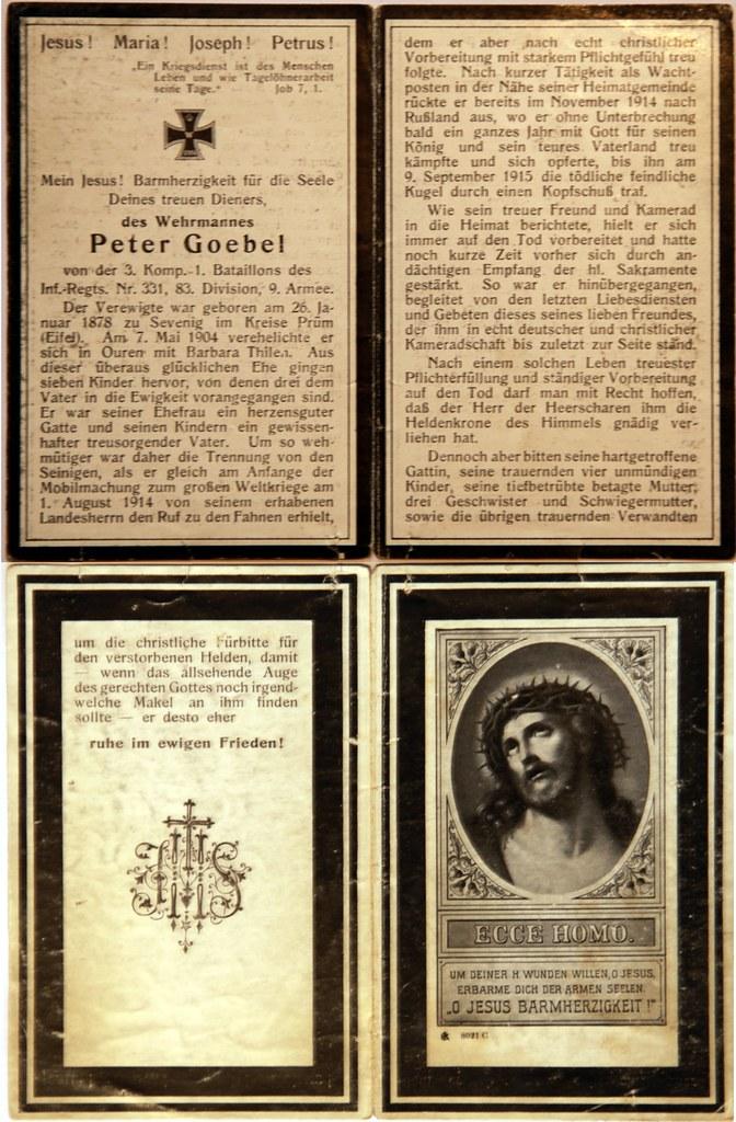 Totenzettel Goebel, Peter † 09.09.1915