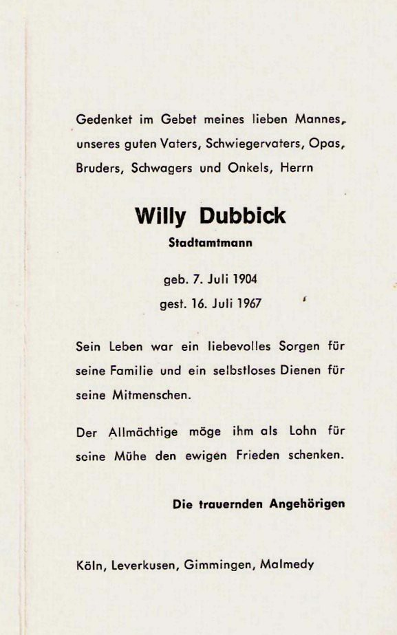 Totenzettel Dubbick, Willy † 16.07.1967