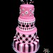 pink, black & white 4 tiered cake
