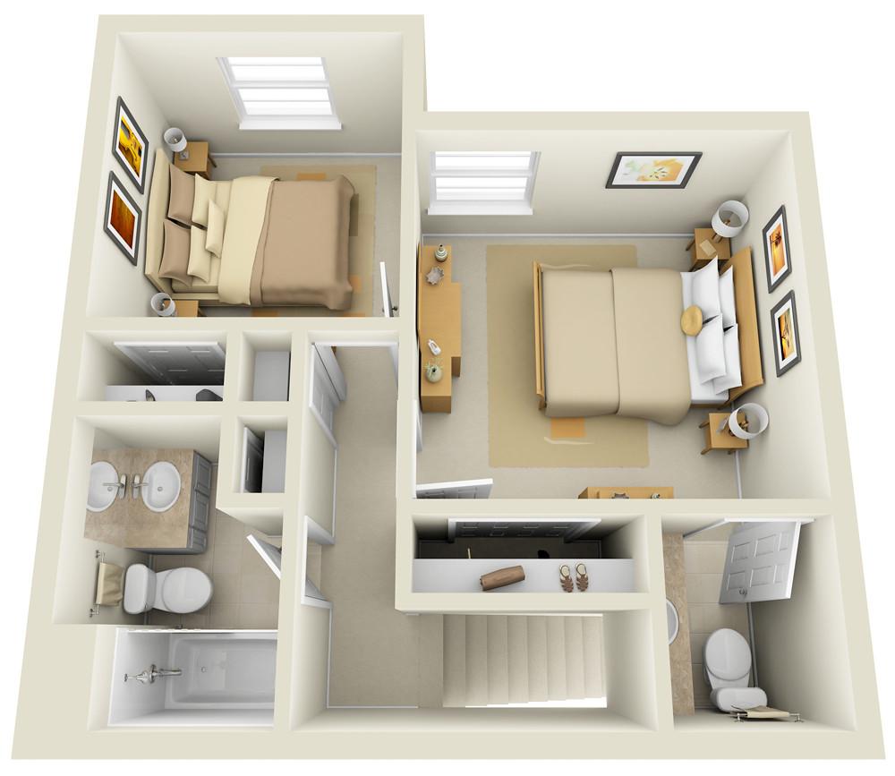 2 Bedroom Townhome 3D Floor Plan For Websites amp Down