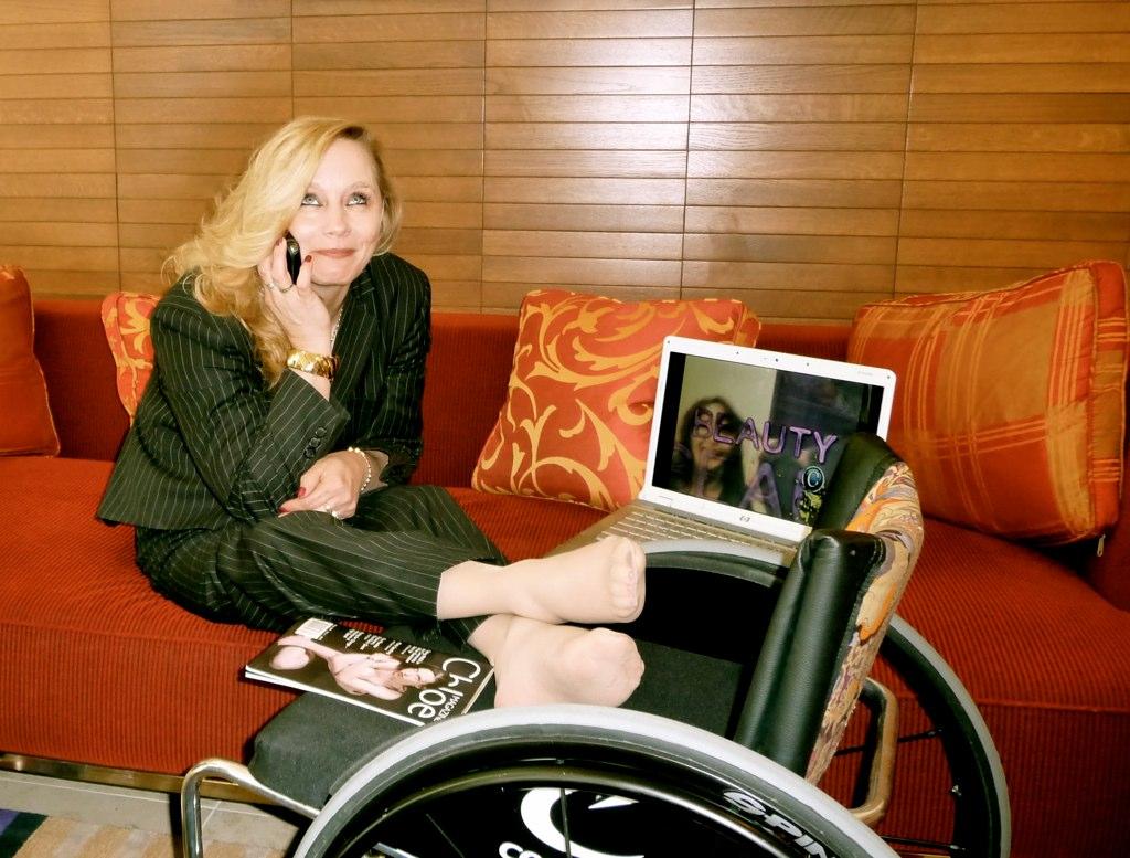 Madonna Long Black Pinstripe Suit Light Gray