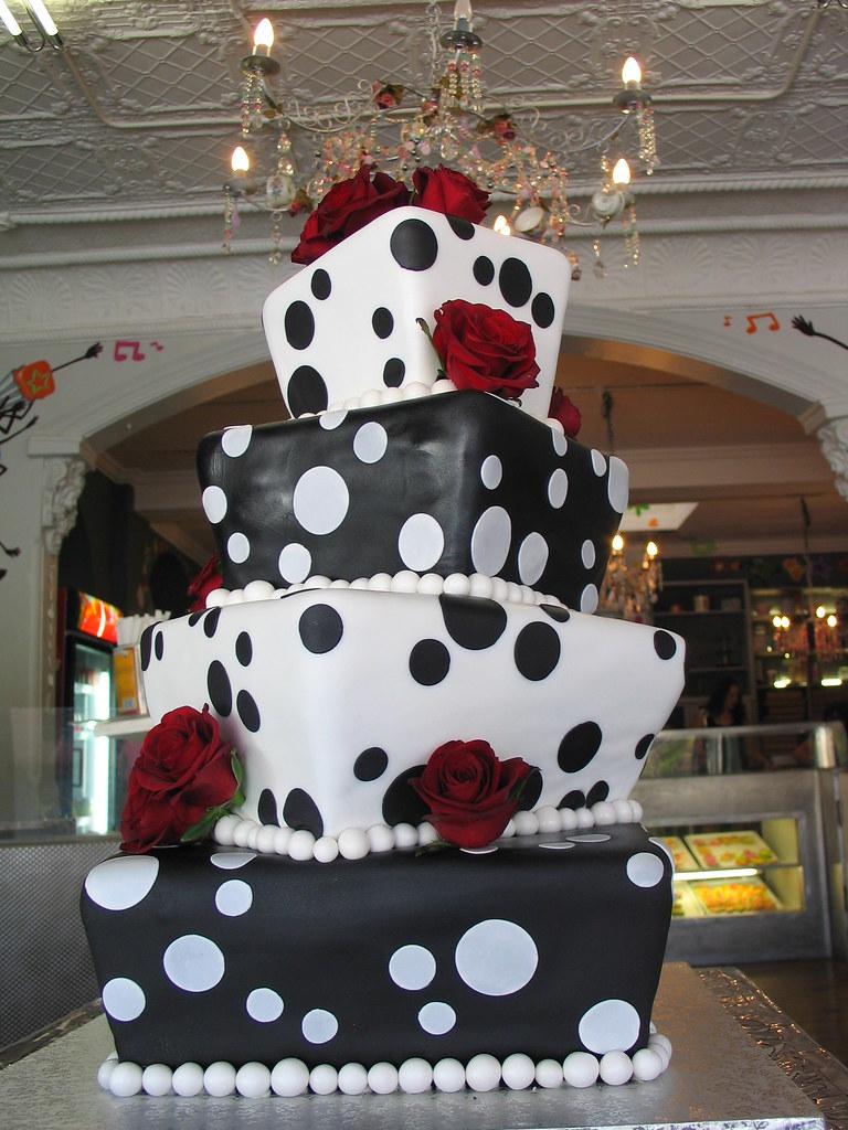 4 tier Square Mad hatter wedding cake black and white polk… | Flickr