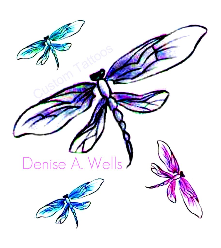"""Dragonfly"" Tattoo Designs By Denise A. Wells"