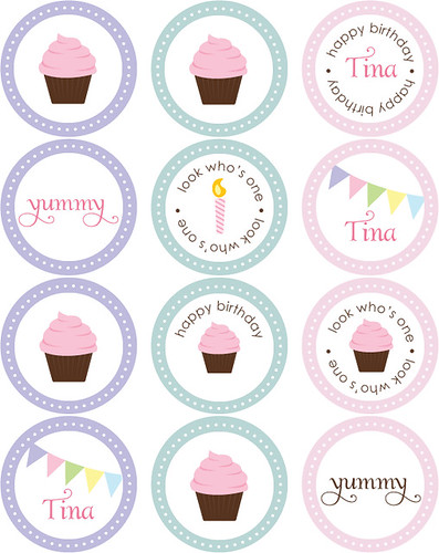 Cupcake Stickers Circle Tags Available Through Blush