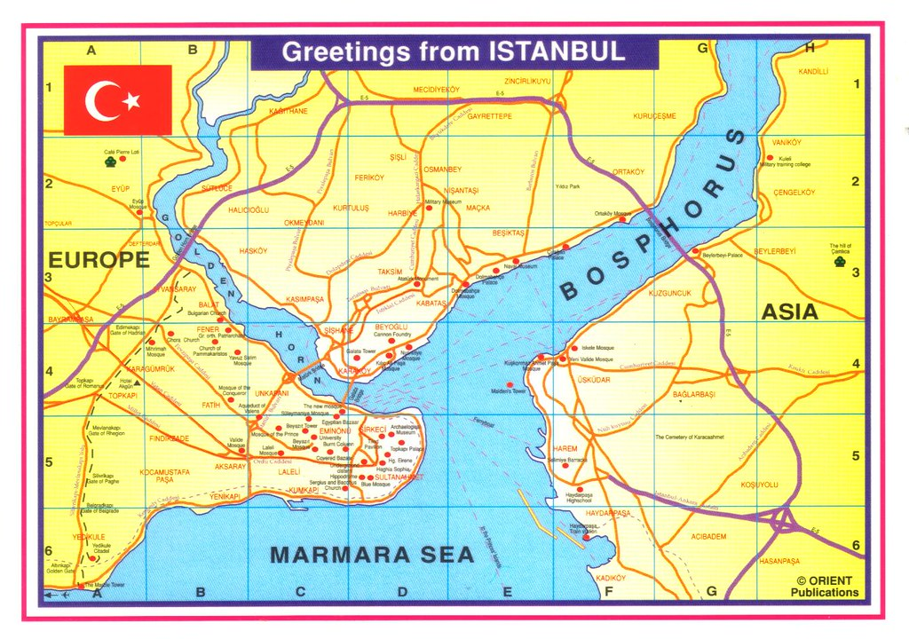 Istanbul Turkey map postcard | City plan of Istanbul, Turkey… | Flickr