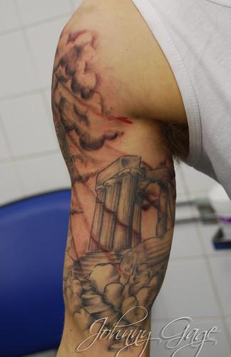 greek sleeve tattoo tattooed by johnny at the tattoo stud flickr. Black Bedroom Furniture Sets. Home Design Ideas
