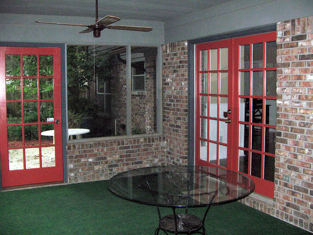 Back porch looking at french doors and painted door for French doors back porch