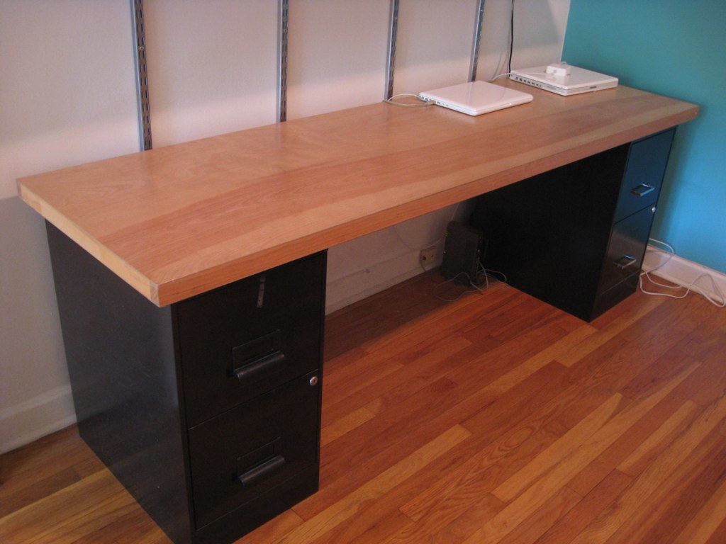"Solid-wood door-desk: 24 x 84"" desk top $30, metal filing … 